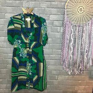 moulinette soeurs // green blue silk shirtdress 8